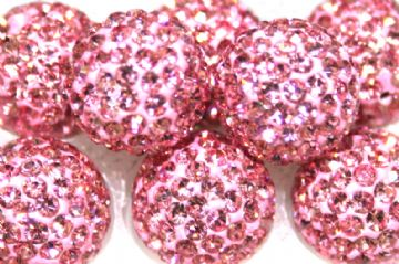 12mm Baby Pink 130 Stone- Pave Crystal Beads- Half Drilled  PCBHD12-130-011